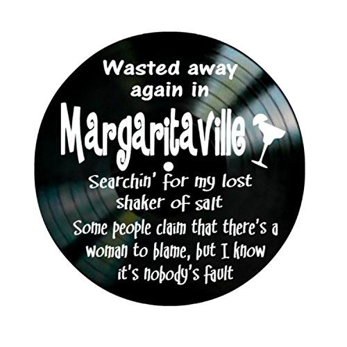 Jimmy Buffet Margaritaville song lyrics on a Vinyl Record Album Wall Art by VinylRevamped