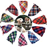 TAOBABY 8pcs/Pack Classic Pet Dog Bandanas Washable Triangle Plaid Adjustable Dog Scarf Bow Tiess