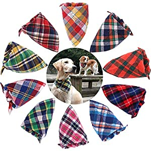 TAOBABY 8pcs/Pack Classic Pet Dog Bandanas Washable Triangle Plaid Adjustable Dog Scarf Bow Tiess 6