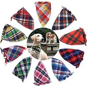 TAOBABY 8pcs/Pack Classic Pet Dog Bandanas Washable Triangle Plaid Adjustable Dog Scarf Bow Tiess 18