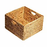 SHUTAO Folding Water Hyacinth Storage Basket Wood Color