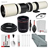 Super-powered 500mm/1000mm f/8.0 Telephoto Lens (White) with 2X Professional Multiplier for Canon EOS Digital SLR cameras and Deluxe Accessory Bundle with Xpix Cleaning Kit