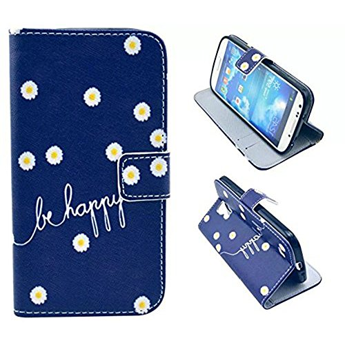 Galaxy S4 Case, M-Zebra Printed Series Light Color Design PU Leather Stand Wallet Type Magnet Design Flip Case Cover For Samsung Galaxy S4 i9500, with Screen Protectors+Stylus+Cleaning Cloth (Flower 2)