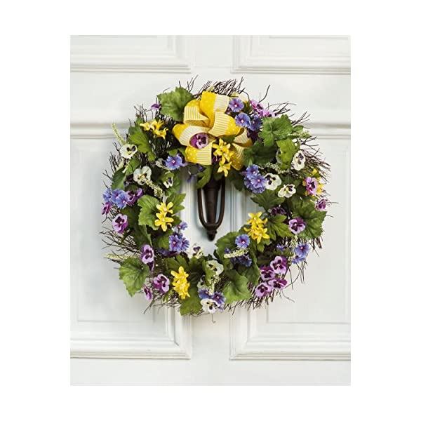 Petals – Pansy & Dianthus Silk Flower Wreath – Handcrafted – Bright, Vibrant Colors – Amazingly Lifelike – 20 x 20 x 4 Inches