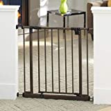 North States 38.5' Wide Easy-Close Baby Gate: The Multi-Directional Swing gate with Triple Locking System - Ideal for doorways or Between Rooms. Pressure Mount. Fits 28'-38.5' Wide (29' Tall, Bronze)
