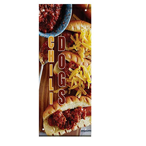Chili Dogs Food And Drink Double Sided Vertical Pole Banner Sign 24 in x 48 in