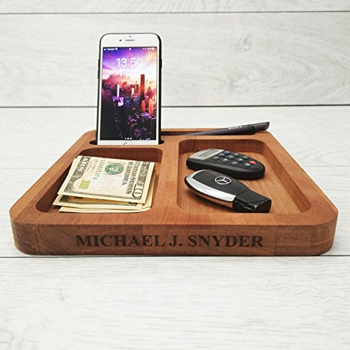 Mens Personalized Valet (Personalized Men Organizer, Everyday Carry Valet, Mens Valet Tray, Mens Desk Organizer, Wooden Dock Station Men Organizer, Nightstand Valet, Phone Valet, Phone Docking Station Wood, Personalized Tray)