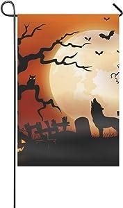 ENEVOTX Home Decorative Outdoor Double Sided Halloween Night Wolf Pumpkins Owl Moon Garden Flag,House Yard Flag,Garden Yard Decorations,Seasonal Welcome Outdoor Flag 12 X 18 Inch Spring Summer Gift