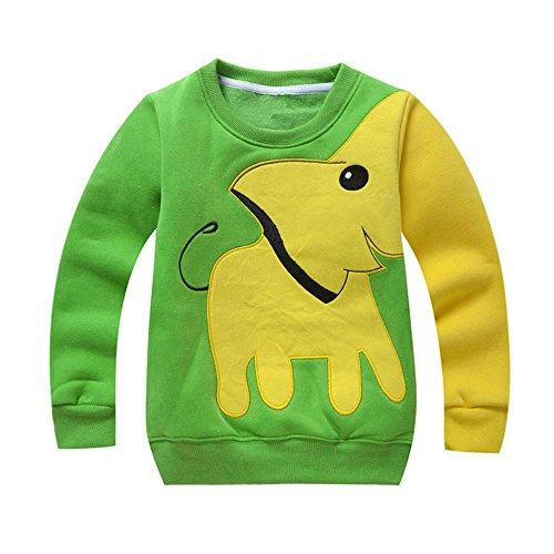 ❤️ Mealeaf ❤️ Toddler Baby Girls Boys T Shirt Long Sleeve Cartton Elephant Print Blouse Sweater T-Shirt Tops Clothes 0-6t