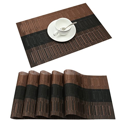Famibay Bamboo PVC Weave Placemats Non-slip Table Mats for Kitchen Table Set of 6-30×45 cm (Set of 6 Coffee)