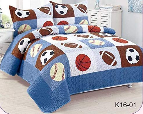 Golden Linens Full Size 3 Pieces Kids Bedspread Quilts for Teens Boys Printed Bedding Coverlet Sport American Football Basketball Baseball Multi color Light blue, Orange Light Brown #Full 16-01 ()