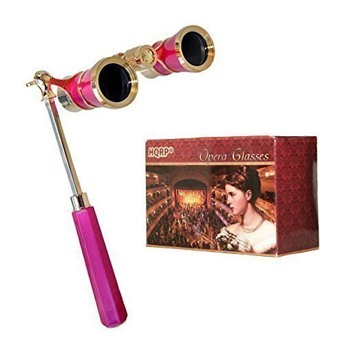 HQRP Opera Glasses Rose / Pink-pearl with Gold Trim w/ Crystal Clear Optic (CCO), Extendable Handle 88466711117124