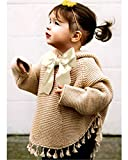 ReachMe Baby Girl Hooded Pullover Sweater Knitted Cardigan Coat Winter Outerwear(Khaki,12 Month)