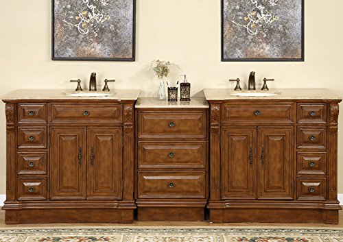 Silkroad Exclusive Travertine Stone Top Dual Sink Bathroom Vanity with Cabinet, 95-Inch - Charlotte 2 Drawer