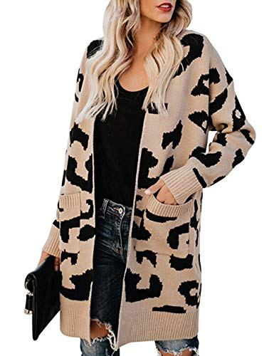 Women's Leopard Print Cardigan Open Front Knit Sweater Lapel Warm Long Outwear Coats for Office Outfits Clothing Dark…