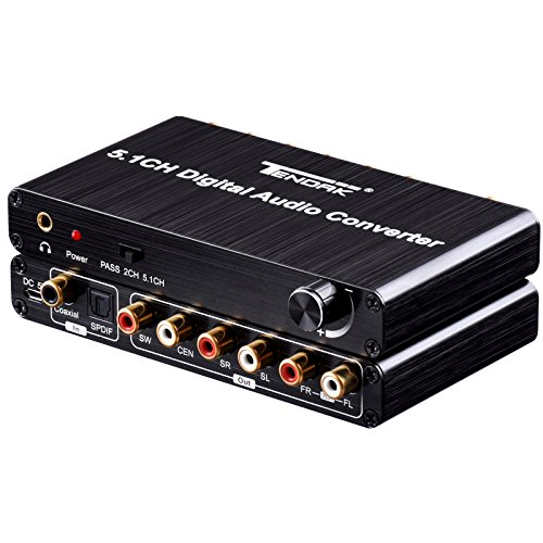 to Analog Audio Decoder Converter with Optical Toslink SPDIF/ Coaxial Support Volume Control AC3 DTS Dolby Audio Gear for Home Theater PS4 PS3 XBOX360 (Digital Coaxial Audio Interface Cable)