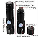 Global-store Mini USB Rechargeable LED Flashlight Torch Adjustable Focus Zoom Aluminum Alloy Portable Rechargeable Light Lamp for Cycling, Camping, Hiking, Hunting & Indoor Activities – 3.66 Inch