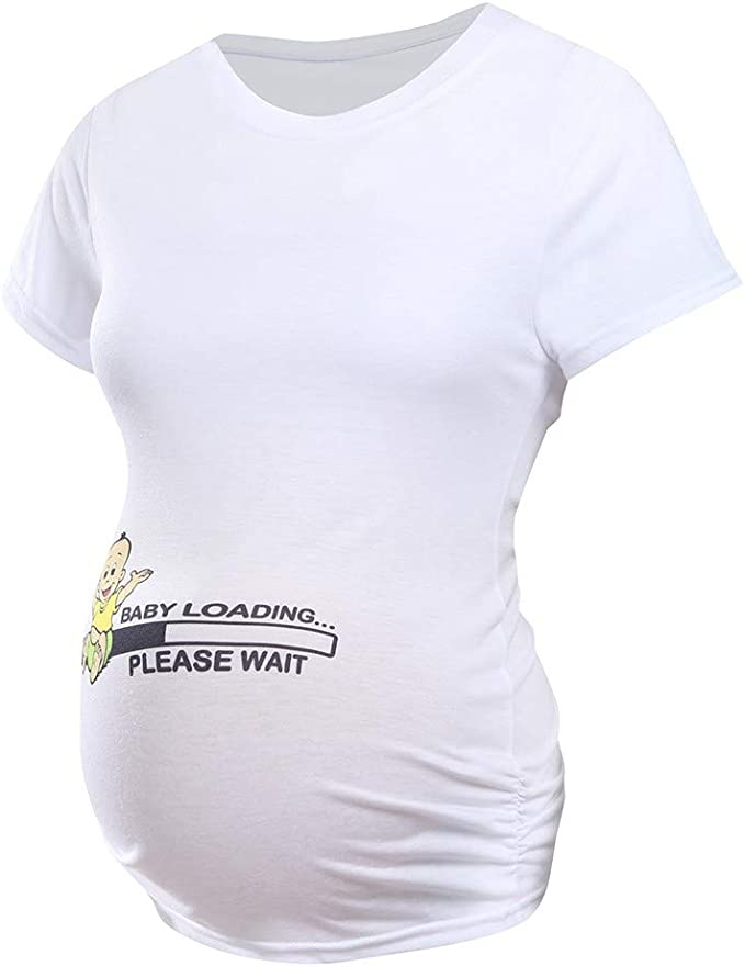 Q.KIM Mujer Camiseta de Maternidad Elasticidad Suave Embarazada Premam/á