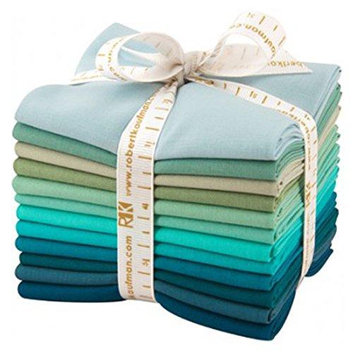 Robert Kaufman FQ-923-12 Fat Quarter Bundle Kona Cotton Midnight Oasis Fabric, 12 Piece