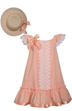 bc68578b7f0b Amazon.com  Bonnie Jean Peach Color Flounce Shift   Hat Set  Clothing