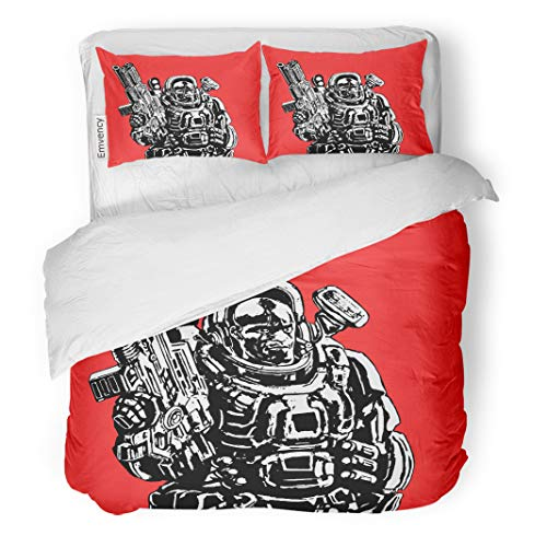 Semtomn Decor Duvet Cover Set Twin Size Heavy Space Marine in Suit Large Plasma Gun Science 3 Piece Brushed Microfiber Fabric Print Bedding Set Cover -