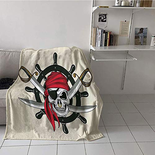 - Khaki home Children's Blanket Chair Print Summer Quilt Comforter (60 by 62 Inch,Skulls Decor Collection,Pirate Skull with Scarf Crossed Swords Violence Sea Sailing Risky Adventurous Image,Dimgrey Red
