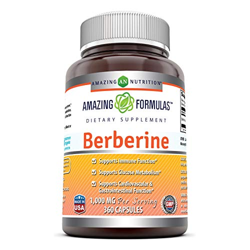 Amazing Formulas Berberine 1000 mg Per Serving Capsules (Non-GMO, Gluten-Free) - Supports Immune System, Glucose Metabolism - Aid in Healthy Weight Management (360 Count)