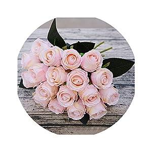 18pcs/Lots Artificial Rose Flowers Wedding Bouquet White Pink Rose Silk Flowers Home Decoration Wedding Party Decor 66