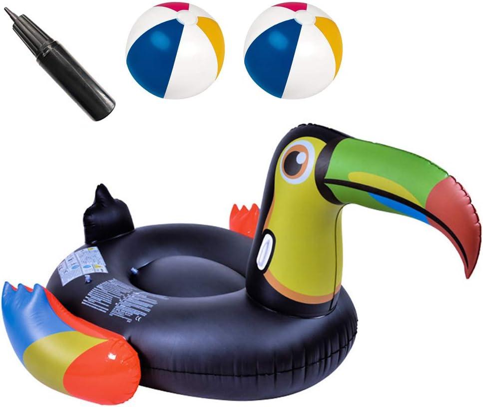 LHY BATHLEADER Asiento De Piscina Tucán Negro Hinchable Colchonetas Piscina Inflable Gigante para Juguete Piscina Anillo De La Natación 2 Pelota De Agua 50X41x23.6In