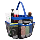 Mesh Shower Caddy - Quick Dry 8 Pockets Mesh Portable Shower Tote Bag with Handle for College, Dorms, School, Sport, Gym, Camp (blue)