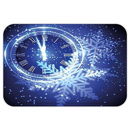 VROSELV Custom Door MatClock Decor Countdown to New Year Theme A Clock Holiday Lightand SnowflakePattern Design Blue (Exact Christmas To Countdown)