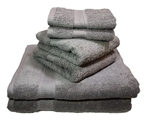 Luxury Hotel & Spa set of 6-piece Towels, 750GSM,100% Long Staple Combed Cotton. Premium set of 2 bath towels, 2 hand towels, 2 washcloths (Light Grey) by Mandalay Brands