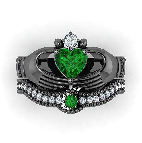 Emerald Set Claddagh Ring - 5