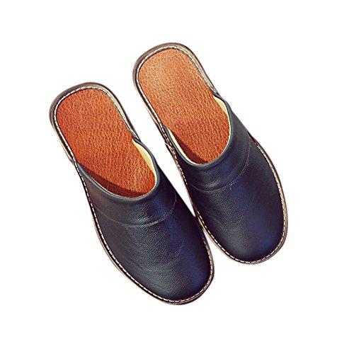 TELLW Cowhide for Men Autumn Floor Spring Smelly Anti M Summer Noir Leather Women Slippers Corium Wooden nSq1TFa