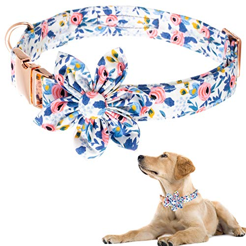 Dog Collar for Girl Dog,Flower Female Dog Collar Puppy Collar Floral Pattern Dog Collar Cute Dog Collar with Detachable Flower Decoration Adjustable Collars for Small Medium Large Dog