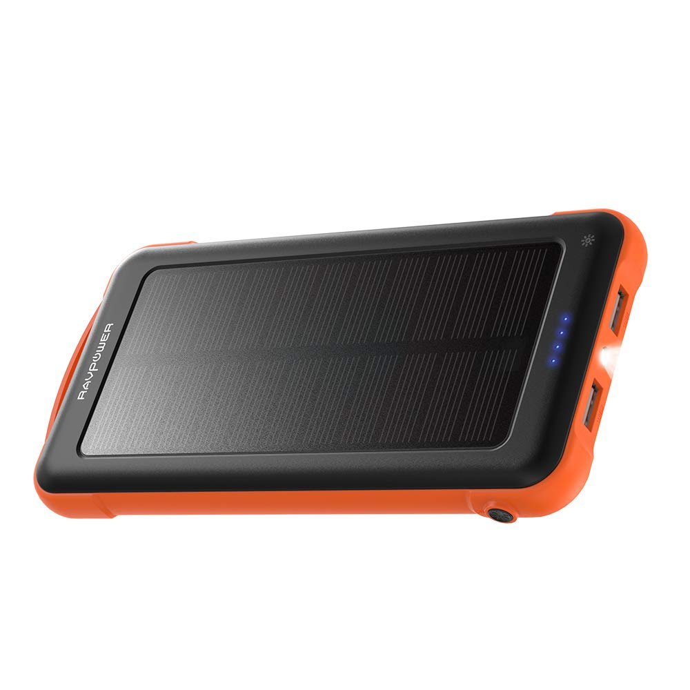 Solar Charger RAVPower 10000mAh Outdoor Battery Pack with iSmart 2.0 and Dual Input (Solar and Outlet), Shockproof Solar Power Bank with LED Flashlight for iPhone, Galaxy, Android, and More - Orange