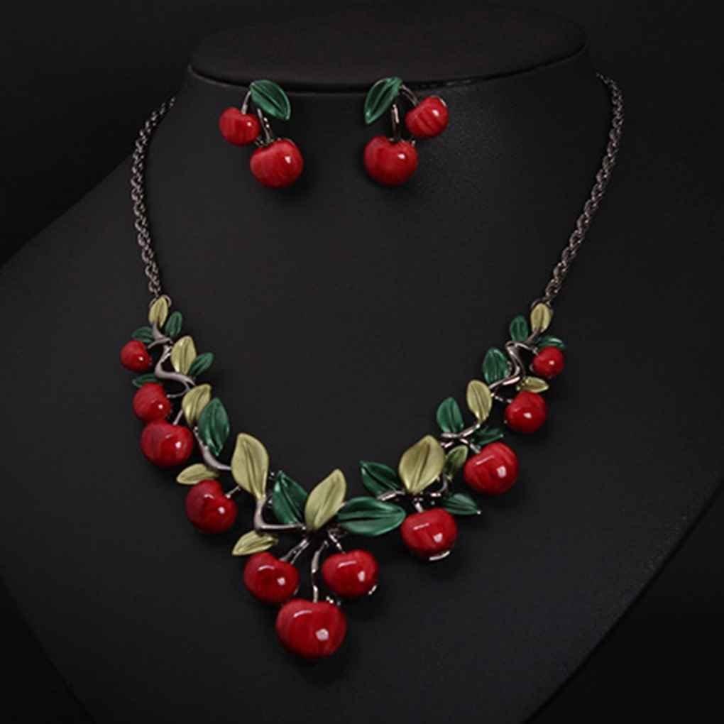 Sunlera Collier rouge cerise boucles doreilles d/îner bijoux robe de mari/ée Accessoires