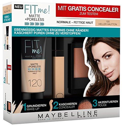 Maybelline New York Set Matt und Poreless Make-Up 120, Master Heat Blush 10, 1er Pack (1 x 3 Stück) classic ivory