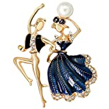 Ballet Boys Girls Brooch Pin Enamel Companion Pins Simulated Pearl Dancer Prom Corsage Blue for Women
