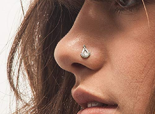 Silver Ring Sterling Designer Handmade - Nose Stud: Unique Handmade Indian Style Anchor Sterling Silver Nostril Jewelry in 20 Gauge For LEFT Side Piercings