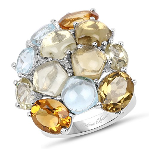 Ring Silver Sterling Quartz Lemon - 15.39 Carat Genuine Multi Stones .925 Sterling Silver Ring