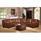 Sofaweb.com Inc. Meadows Brown Curved Top Grain Leather Sectional Sofa and Ottoman