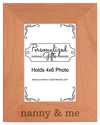 Personalized Gifts Grandma Gift Nanny Me Grandchild Natural Wood Engraved 4x6 Portrait Picture Frame Wood