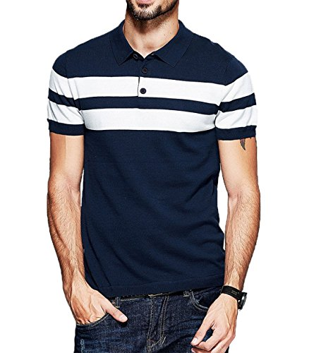 fanideaz Branded Men's Half Sleeve Navy Blue With White Contrast Striped Polo T-Shirt (L-40, Navy Blue) Blue Branded Polo