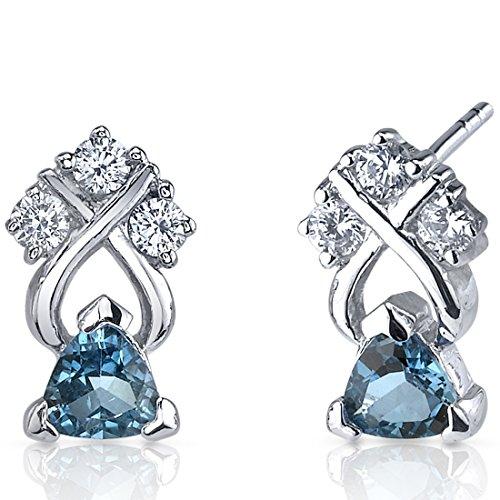 London Blue Topaz Trillion Cut Earrings Sterling Silver Rhodium Nickel Finish 1.00 Carats