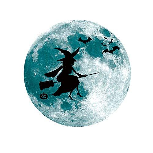 (2018 New Popular Luminous Moon Removable Wall Sticker Home Halloween Decoration)