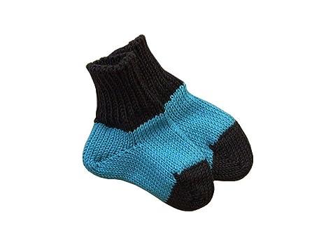 Calcetines de bebé, 100% lana de merino, de punto Aqua blue-