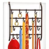Lynk Over Door or Wall Mount Scarf Holder - Belt, Hat, Jewelry, Accessory Hanger - 16 Hook Organizer Rack - Bronze