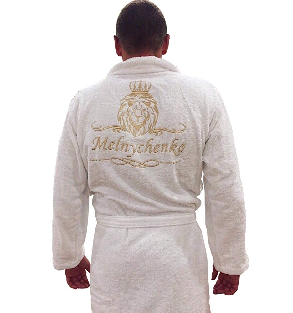 Made with 100/% Turkish Cotton Personalized Embroidered Robe Luxury Mens Terry Premium Cotton Bathrobe