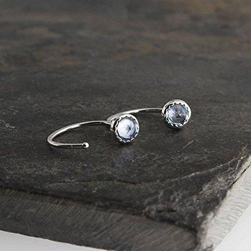 Sky Blue Topaz Stone Silver Open Hoop Hug Hugging Earrings 4mm by Fashion Art Jewelry